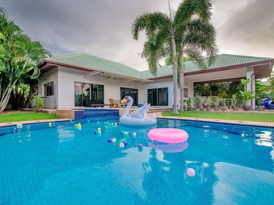 Photo for 3 Bedroom Villa with large swimming pool, Jacuzzi, BBQ, gardens & pool table.