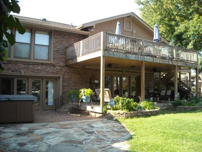 Upper Deck with Multiple Seating Areas, Lower Covered Patio - Dining and Seating