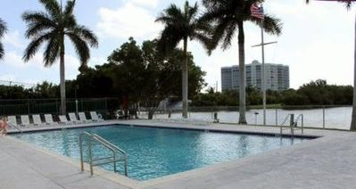 Our beautiful, heated pool overlooking the Bay-great for swimming, sun and fun!