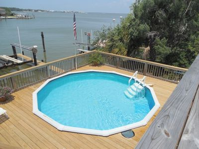 Pool surrounded with new decking