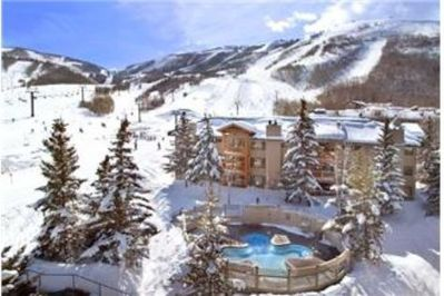 View of our Bldg.#2, right at base of ski lift/run w/hot tub in front of unit 45