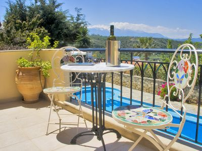 Photo for Private villa with large pool, aircon and stunning views to mountains and sea