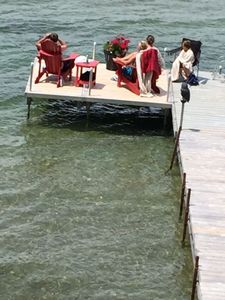 Large dock for sitting and swimming