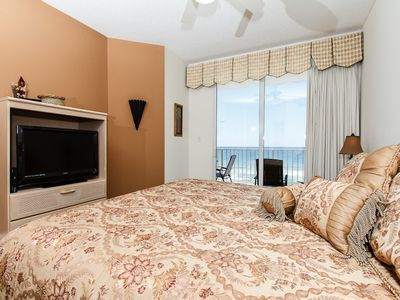 Master Bedroom - Private access to the balcony and new flat screen TV
