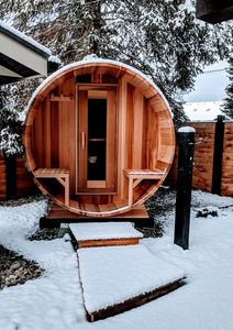 6 person cedar barrel sauna right outside your door!