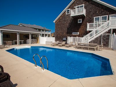 Photo for Comforting 7 bedroom home w/ private pool & hot tub across the street from the beach