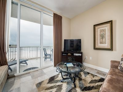 Photo for 4th Floor Inviting Condo w/ Gulf-Front Balcony, On-Site Pool, On The Beach