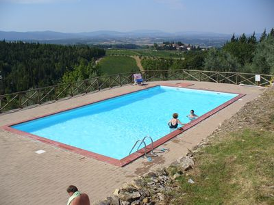 Photo for Apartment with pool. Medieval village in the heart of the Chianti Classico