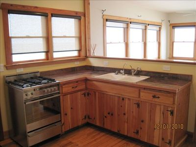 Kitchen comes fully equipped to prepare a simple meal or a fancy feast.