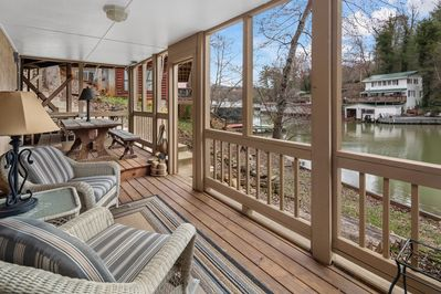 Full length covered lakefront porch