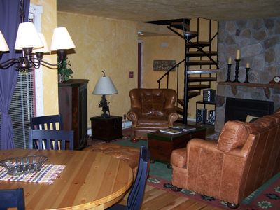 Photo for Quaint Mt Condo River, Ski Mt, Pool, Hot Tub, Gas Fire,8people