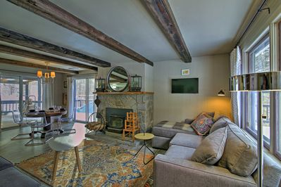 Recently renovated, the 1400-square-foot interior features high-end furnishings.
