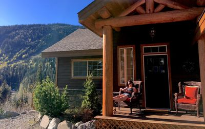 Enjoying the afternoon sun on the front porch of Morrisey Chalet at Sun Peaks