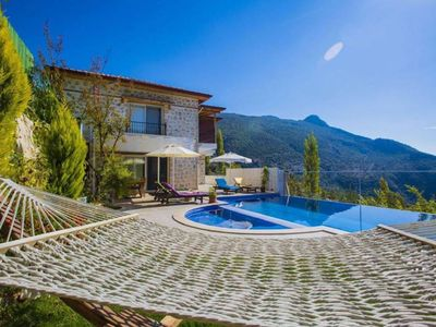 Photo for Villa Yolu is a two bedroom luxury villa in Kalkan with a private pool, garden, large terrace, Jacuz