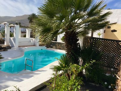 Photo for Charming Award-Winning Holiday Home, Casita Carmelo has Mountain Views, Swimming Pool, Wi-Fi, Sun Terrace, Canarian Gardens, yet only Seven Minutes from Excellent Beaches and the Spectacular North-East Coastal Road