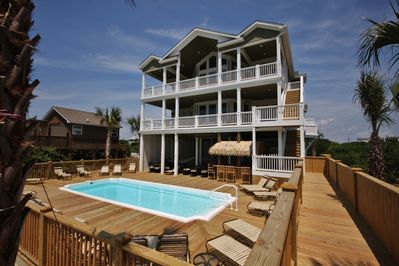 16 BR/18 bath, Sleeps 60 OCEANFRONT with pool/elevator! 2068 New River  Inlet Rd - North Topsail Beach