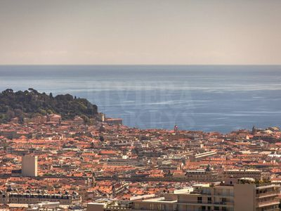 Photo for Two rooms, large terrace, superb sea view in Nice