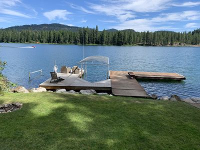 Dock and 2 boat lifts, to the rt is the beach, & small dock w/ 2 jet ski lifts.