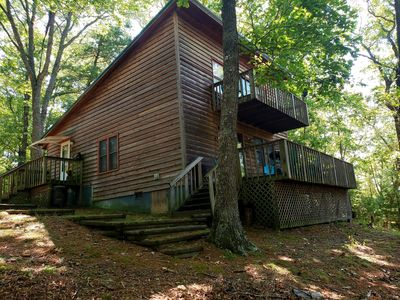 Photo for Private, Secluded Small Mountain Top 2 Story Cabin With 7 Plus Acres