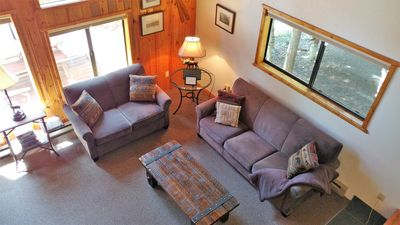 View of the comfortable living area and beautiful furniture from the loft.