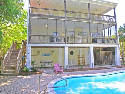 Photo for Beach House with Pool, Dog Friendly, 3 Large Porches, Easy Walk to Beach, 5 BR