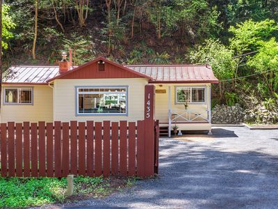 Photo for Sweetest Cabin under the Redwoods! Hot Tub, Fire Pit, Austin Creek!