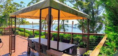 Our gazebo on our deck, ideal for enjoying our Bay in shade or even in the rain