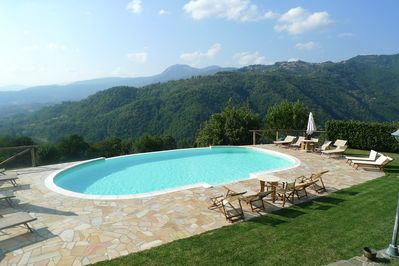 Large comfortable sun terrace with 'infinity' pool. Stunning views