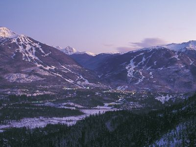 View Of The Village And Whistler Blackcomb Mountains From Blueberry Hill