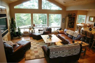 Family Room open to Kitchen with Spectacular View of the Lake