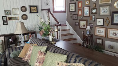 view of the living room and stairwell...very open and appealing
