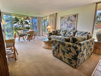 Photo for SPACIOUS 1 BR, 1 BA CONDO ON MAUI's BEST BEACH. kitchen and living room.