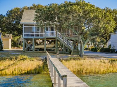 Photo for SOUND HOUNDS: 4 BR / 3 BA soundfront with dock in Topsail Beach, Sleeps 8