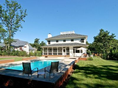Photo for Luxury pool house w/ screened porch 1000 feet from Lake Michigan