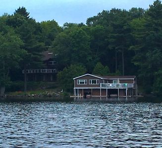 The cottage and boathouse