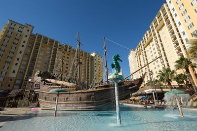 Pirate ship pool for the kiddies & Tiki bar for the adults  all in one location