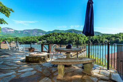 Dining table and fire pit overlooking Lake Lure