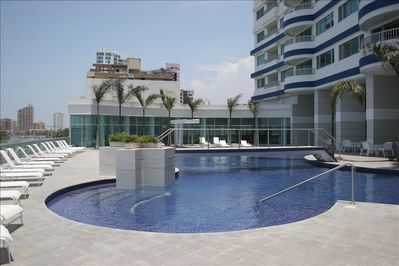 best pool in Cartagena, fronts the beach (pool resurfaced Nov. 2013)