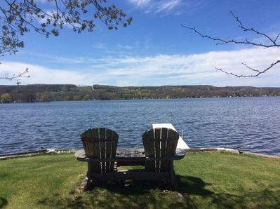 Place to sit while looking over lake. Great place for coffee in the morning