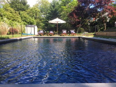 18 x 36 saltwater heated pool surrounded by bluestone patio
