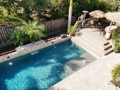 Private Solar Heated Beautiful Swimming Pool 15 x 32 by Tiki Hut.