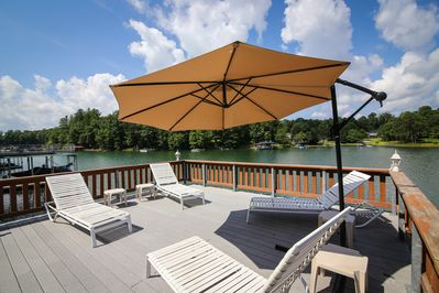 Upper sun deck with a large area for lounging