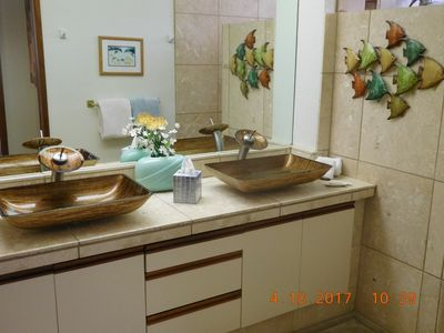 travertine marble, vessel sinks