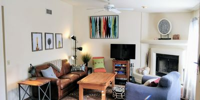 Enjoy our homey living room and fire place