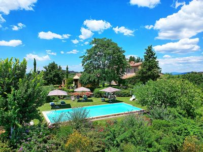 Photo for Private Villa with private pool, WIFI, A/C, TV, patio, panoramic view, close to Greve In Chianti