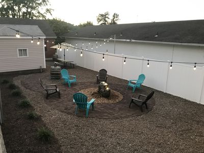 NEW backyard oasis with lighted Bubbling Boulder water feature!