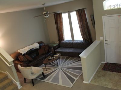 Lovely living area for entertaining, with sleeper sofa and 42' Samsung TV.