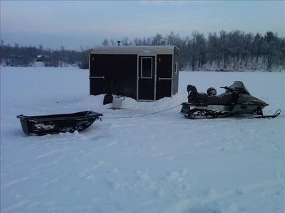 Ice Fishing House included at no charge with winter cabin rental.
