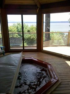 Amazing views from home, hot tub, decks and sport court!  Canoe, kayak included.