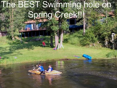 Fun Cabin Overlooking the Best Swimming Hole on Spring Creek -  Stratobowl